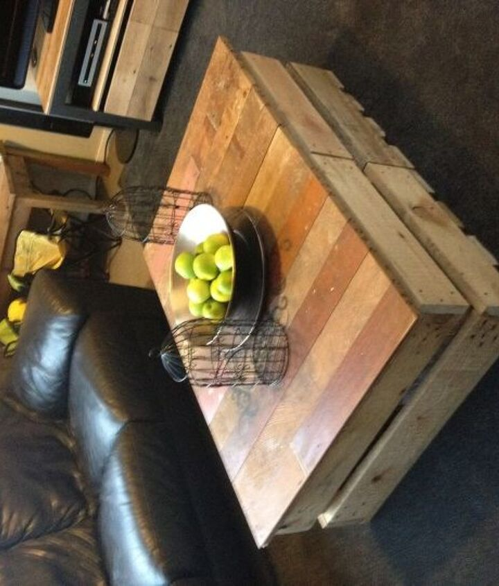 coffee table made of two pallet crates