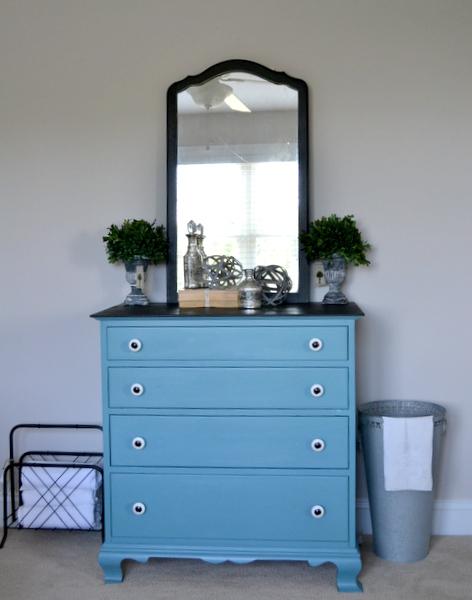 Painted Furniture Dresser Vintage Blue Black