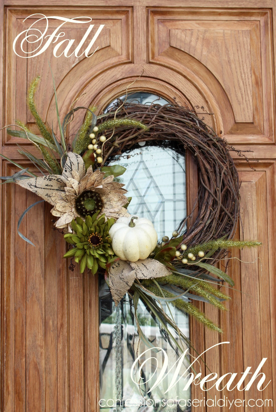 Fall Wreath Neautral Chic Front Door White Pumpkin Crafts Porches Seasonal Holiday Decor