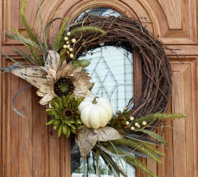 Fall Wreath Neautral Chic Front Door White Pumpkin, Crafts, Porches,  Seasonal Holiday Decor