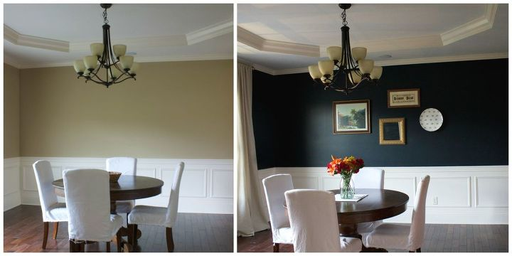 My favorite dark blue wall color a year later hometalk for Dining room wall colors with dark furniture