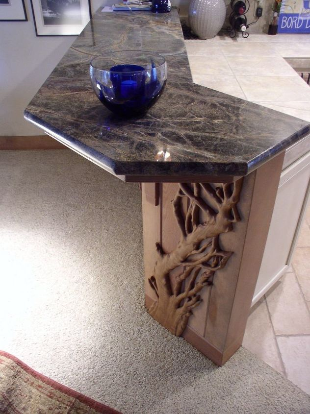 Rainforest Marble and Carved Cherry Peninsula