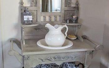 diy vintage washstand redo, bathroom ideas, painted furniture