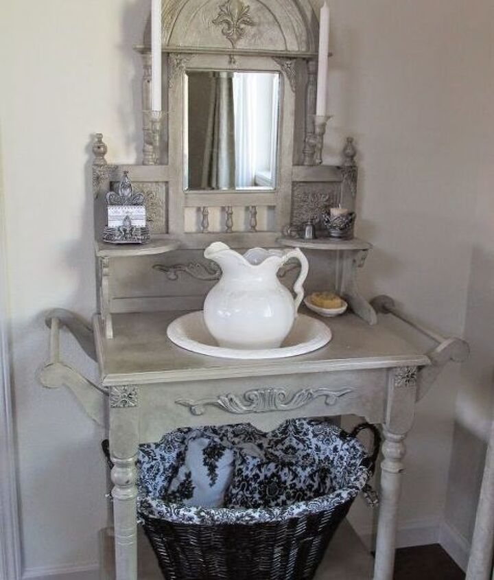 diy vintage washstand redo, bathroom ideas, painted furniture