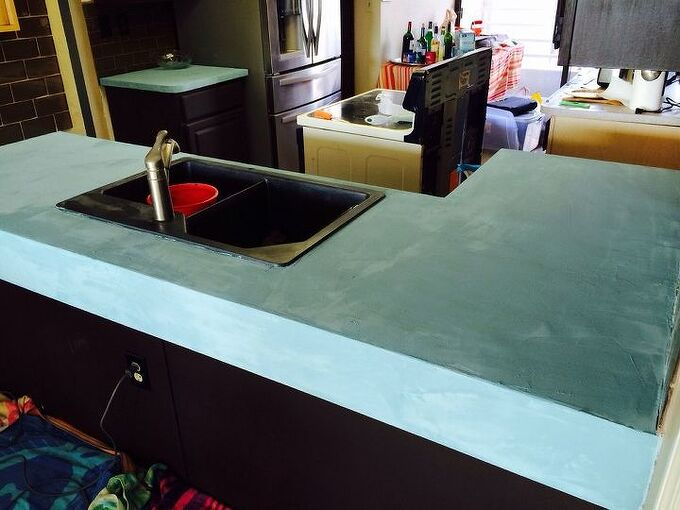 turn the laminate to high end for less than 150 stunning, countertops, kitchen design, kitchen island, painting, Gotta Love Patio Paint