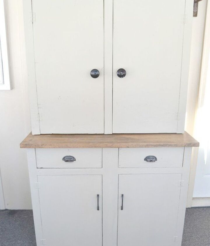 how to turn a garage cabinet into a farmhouse hutch, painted furniture, repurposing upcycling, rustic furniture