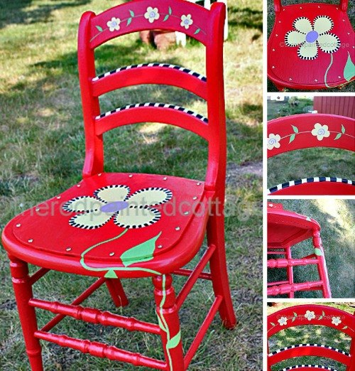 painting a whimsical chair with free pattern, painted furniture