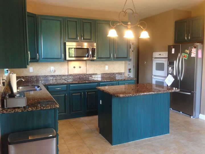 Diy Kitchen Transformation Galapagos Blue Hometalk