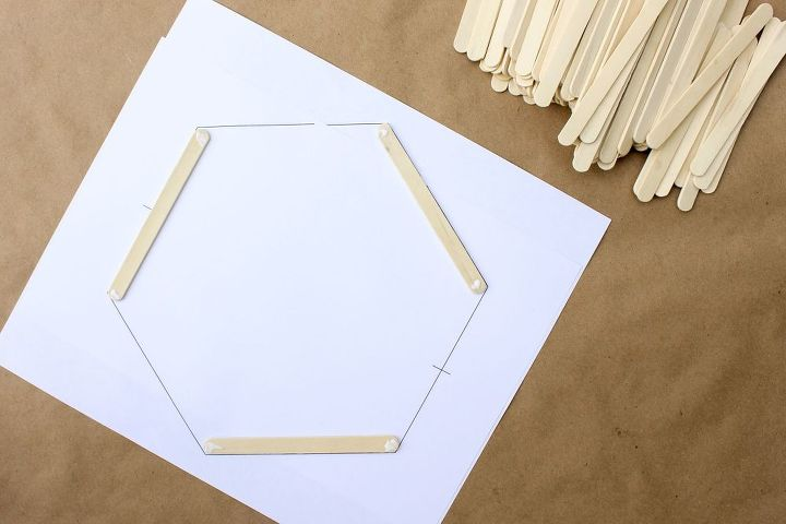 diy wall art popsicle stick hexagon shelf, crafts, shelving ideas