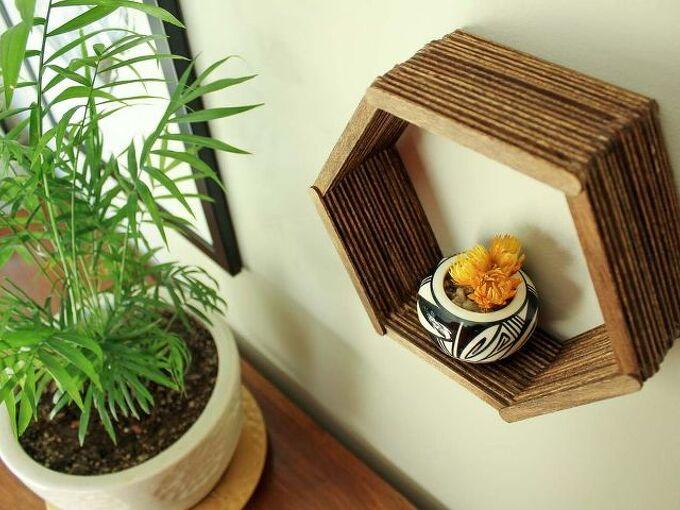 diy wall art popsicle stick hexagon shelf, crafts, shelving ideas