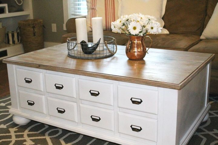 60 coffee table makeover, painted furniture