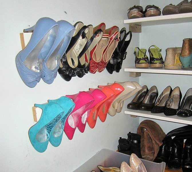 s 16 brilliant ways to squeeze much more into your closet, closet, organizing, storage ideas, Organize heels with wall trim
