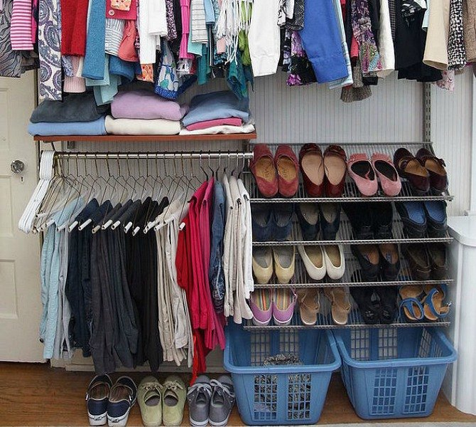 s 16 brilliant ways to squeeze much more into your closet, closet, organizing, storage ideas, Keep the floor clear with a handy basket