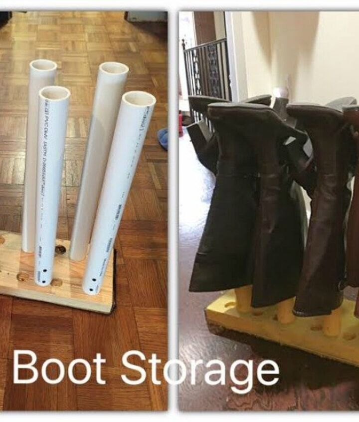 s 16 brilliant ways to squeeze much more into your closet, closet, organizing, storage ideas, Use PVC pipes to keep boots in line