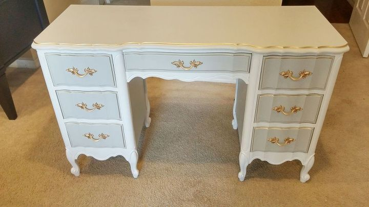 French Provincial Desk Makeover Painted Furniture Shabby Chic