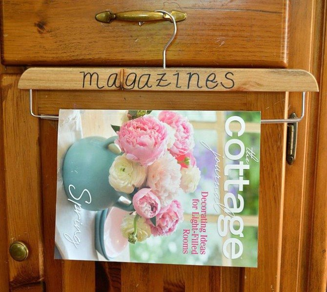 s 15 insanely smart hanger hacks you ll wish you d seen sooner, crafts, organizing, repurposing upcycling, Make a hanging magazine holder