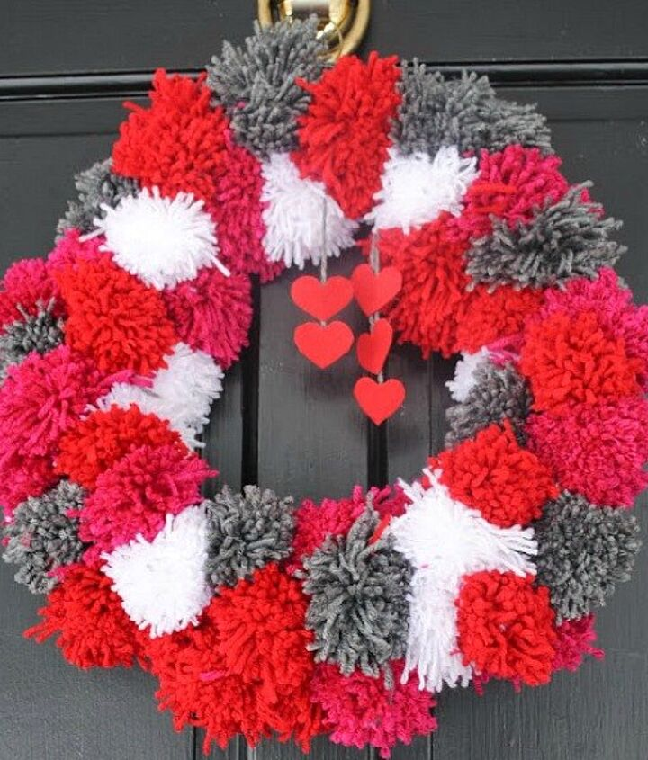 s 15 insanely smart hanger hacks you ll wish you d seen sooner, crafts, organizing, repurposing upcycling, Make a pom pom Valentine s wreath
