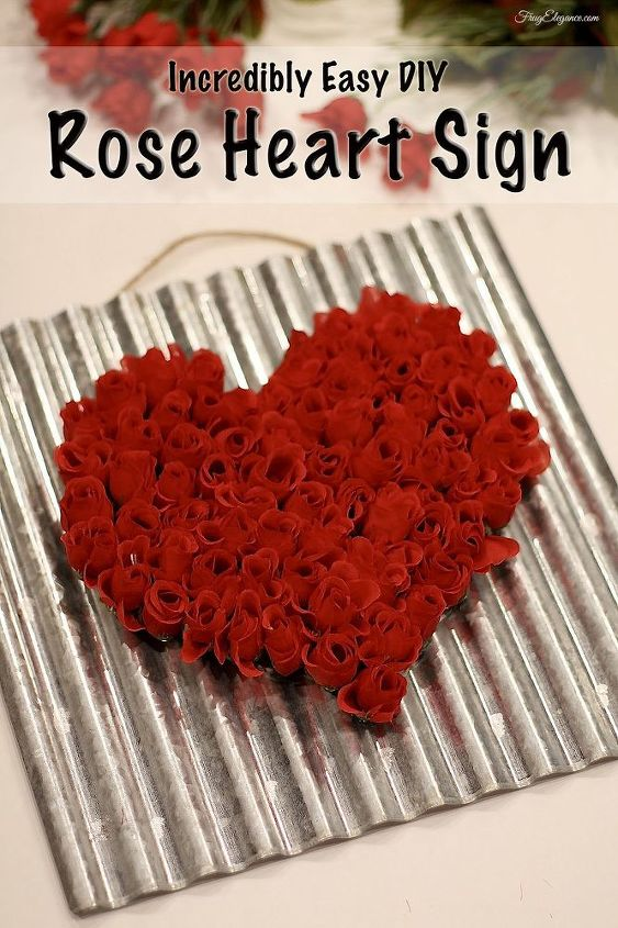 super easy rose heart sign, crafts, seasonal holiday decor, valentines day ideas