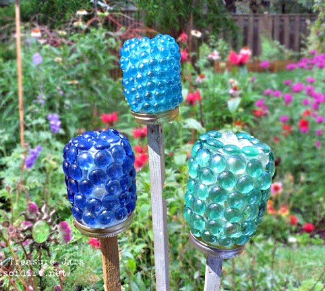 s 17 stunning ideas for your dollar store gems, crafts, gardening, Craft treasure jars for your spring garden