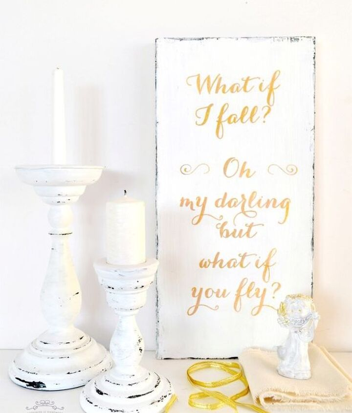 diy shabby gold wood sign what if i fall free printable, crafts, shabby chic, wall decor
