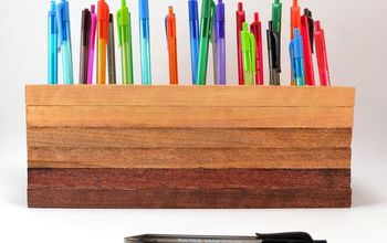 Ombre Wood Stain Pen Holder