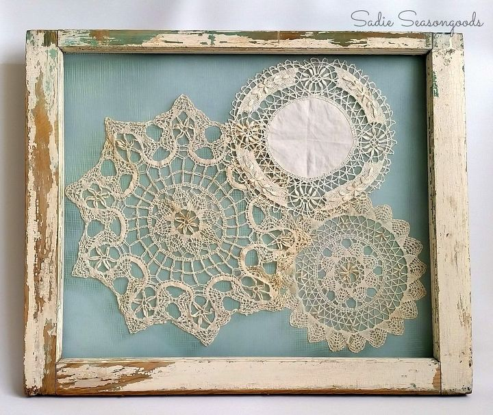 salvaged window frame doily display crafts repurposing upcycling wall decor windows - Window Frame Wall Decor