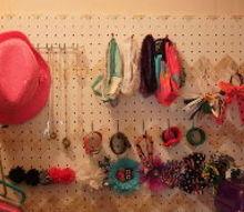 jewelry hair accessory pegboard storage, bedroom ideas, organizing, storage ideas