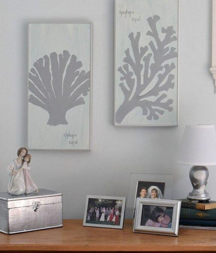 diy silver metallic coral painting, crafts, wall decor