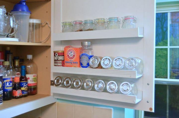 diy inside cabinet door storage shelves, diy, kitchen cabinets, kitchen design, shelving ideas, storage ideas, woodworking projects
