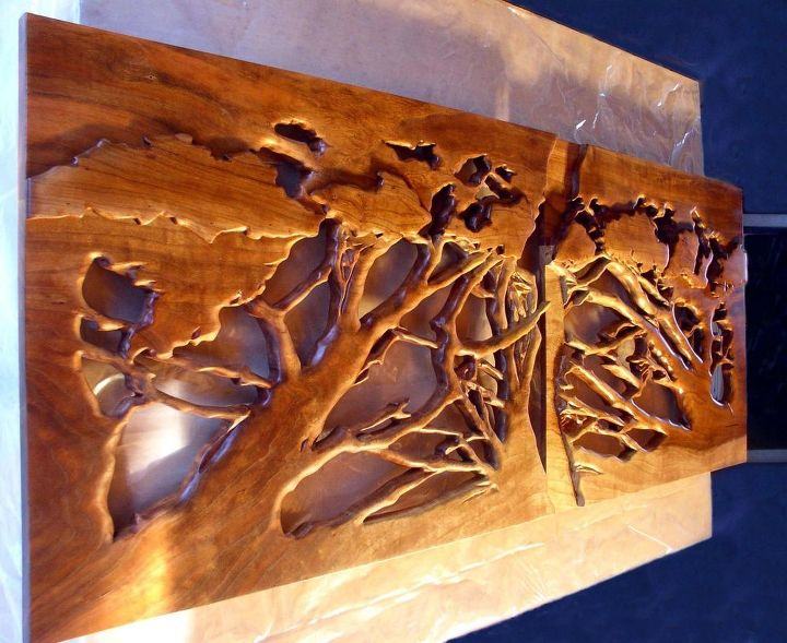 Heistand Carved Cherry Doors Showing Overlap