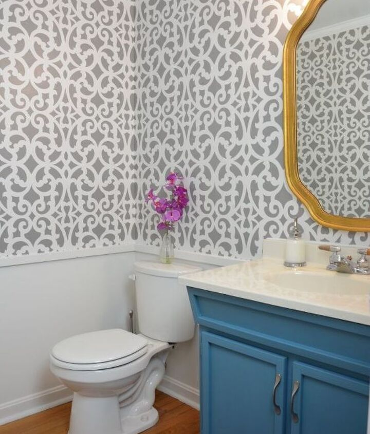 before after a colorful small gray bathroom with a wall stencil, bathroom ideas, painting