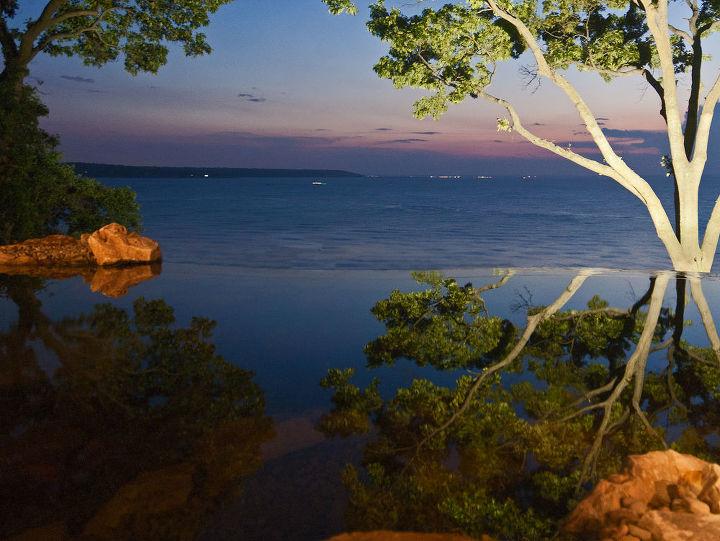 Vanishing edge pond overlooking Long Island sound