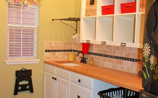 bright and cheery laundry room, home decor, laundry rooms, shelving ideas, Finally got all the finishing touches finished in our laundry mudroom