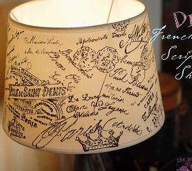 Decoupage Lamshade French Script, Decoupage, Home Decor, Lighting