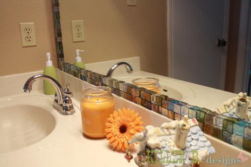Mosaic Tile Framed Mirror Hometalk - Mosaic tile around bathroom mirror for bathroom decor ideas