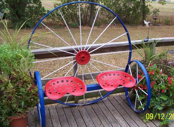 Steel Wagon Wheel Bench Hometalk