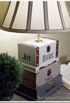 dollar store craft box lamp, crafts, lighting, Dollar store trinket boxes and a lamp kit makes a very unique lamp for any room