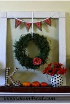 fall mantel w polka dots, seasonal holiday d cor, wreaths, Hang a wreath from an old empty picture frame or window and add a banner to the top