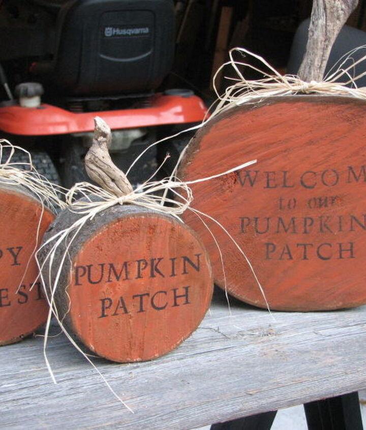 halloween decoration firewood pumpkins craft, crafts, halloween decorations, repurposing upcycling, seasonal holiday decor, woodworking projects