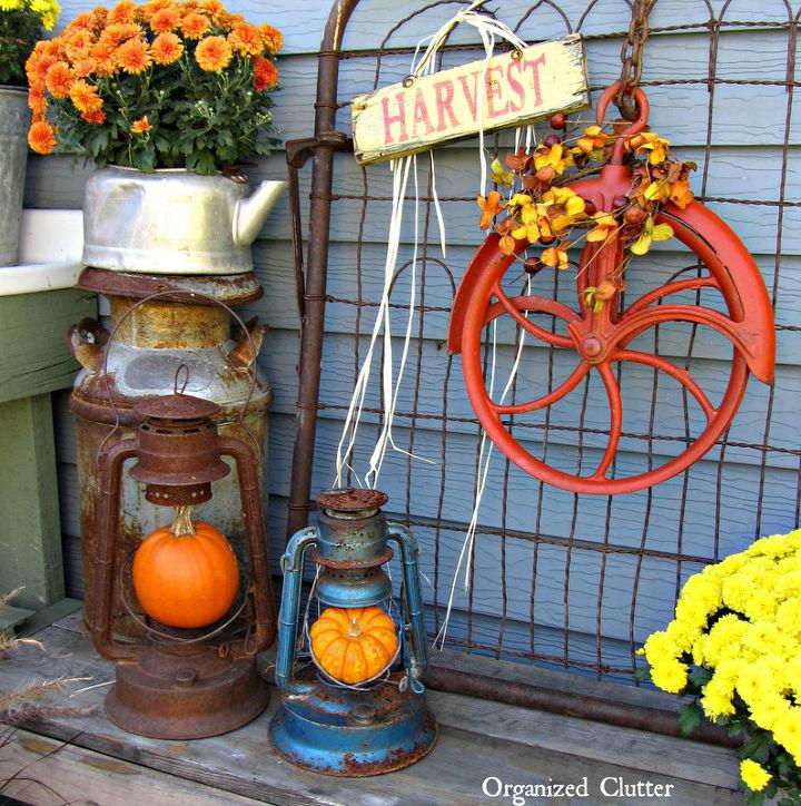 An Orange Pulley Fall Wreath More Outdoor Junk Decor Hometalk