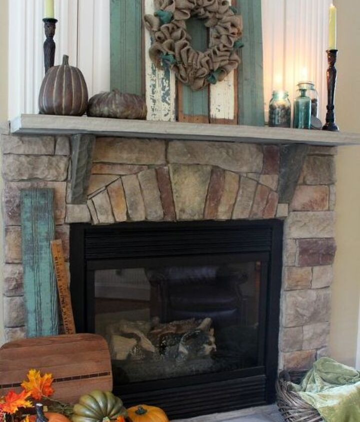 Aqua blue brown and cream rustic fall fireplace mantel
