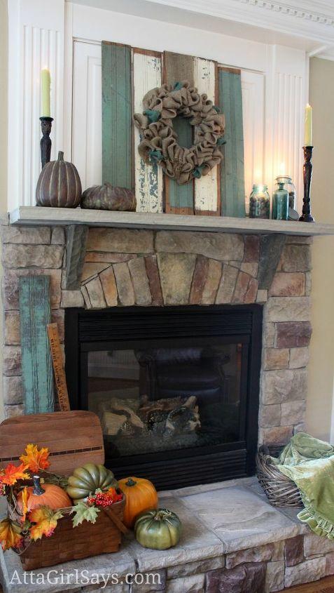 Aqua blue brown and cream rustic fall fireplace mantel