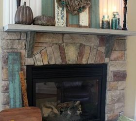 Rustic Fall Mantel With Reclaimed Chippy Wood And Blue Ball Jars,  Fireplaces Mantels, Home