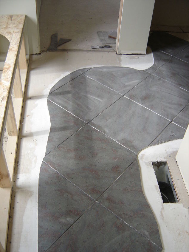 Tiling a Faux River Look on Bathroom Floor | Hometalk