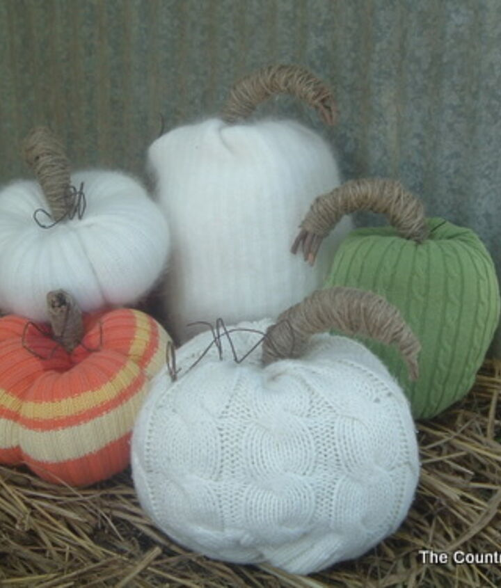 My entire grouping of sweater pumpkins -- from white to colorful!