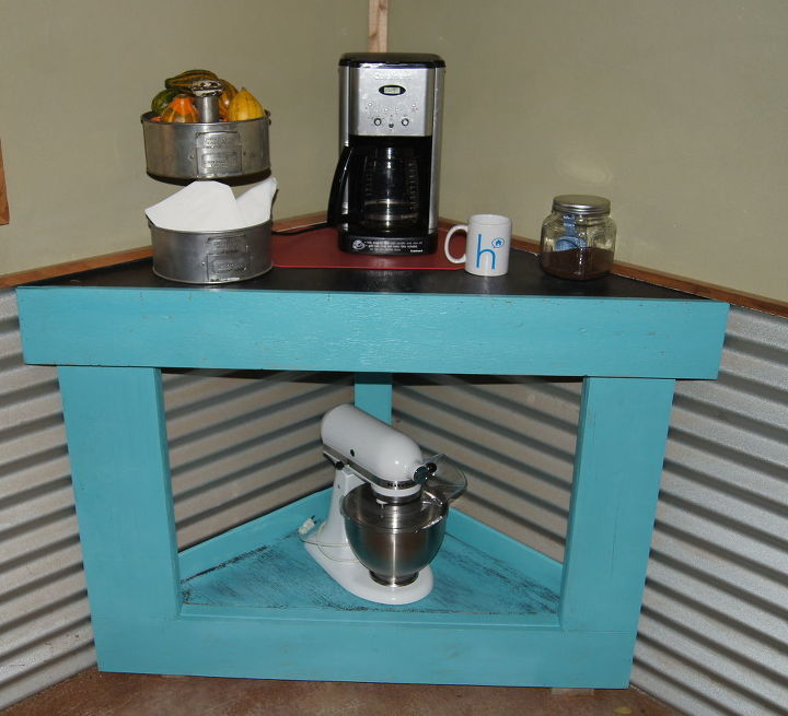 pallets turned into corner coffee station, home decor, painted furniture, pallet