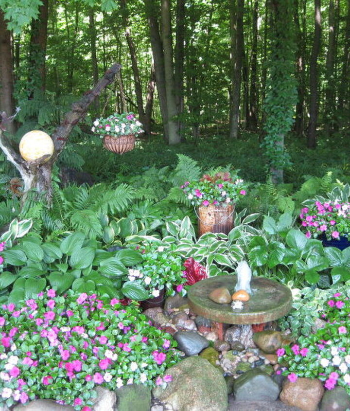 Daytime shot of my shade garden with the Fairyball. It's on the left of this photo.