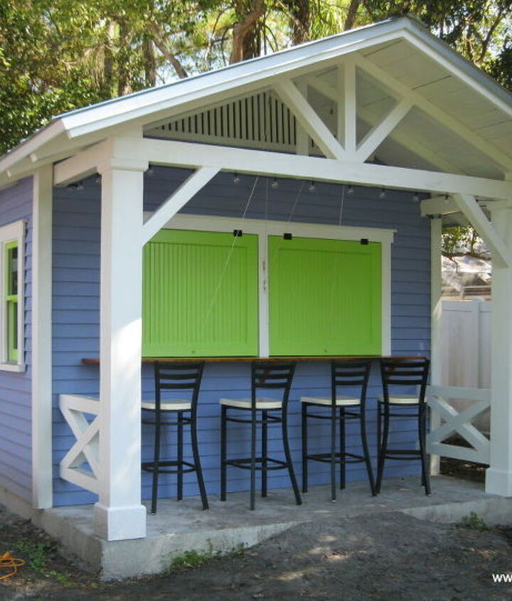 Custom snack bar area with awning shutters closed