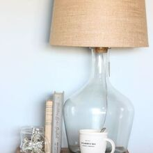 diy glass bottle lamp pottery barn knock off, diy, home decor, how to, lighting
