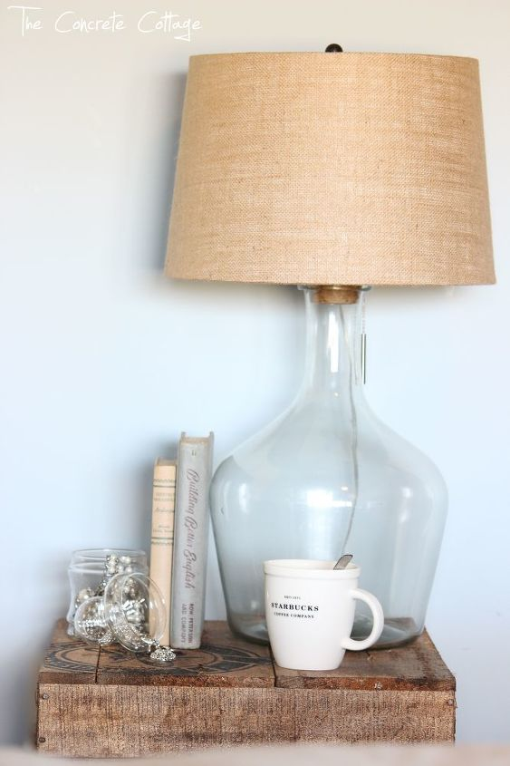 diy glass bottle lamp pottery barn knock off, diy, home decor, how to, lighting